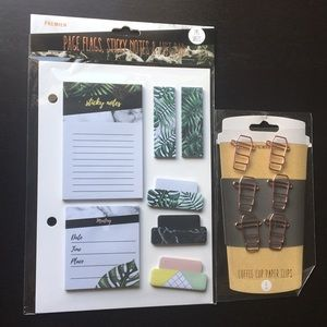 Stationery Set Sticky Notes + Coffee Paper Clips